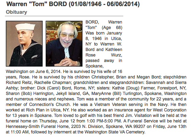 Tom Bord's obituary