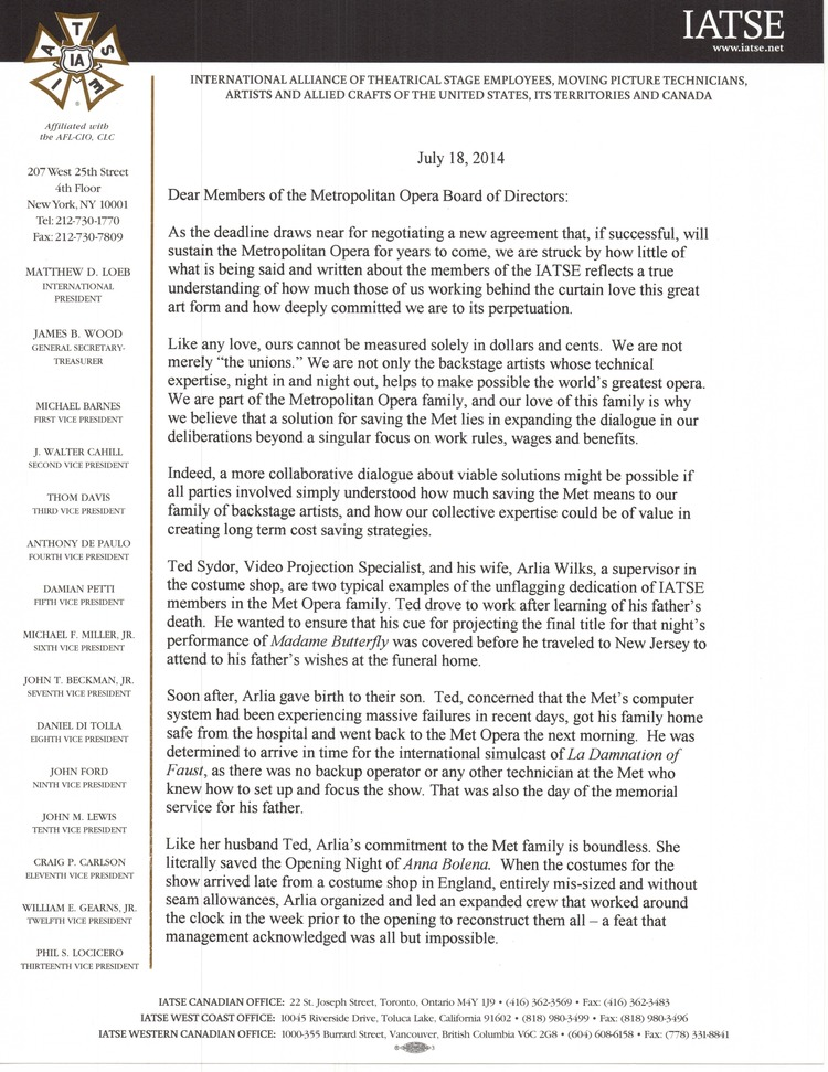 IATSE letter to the Met Opera Board of Directors, page 1