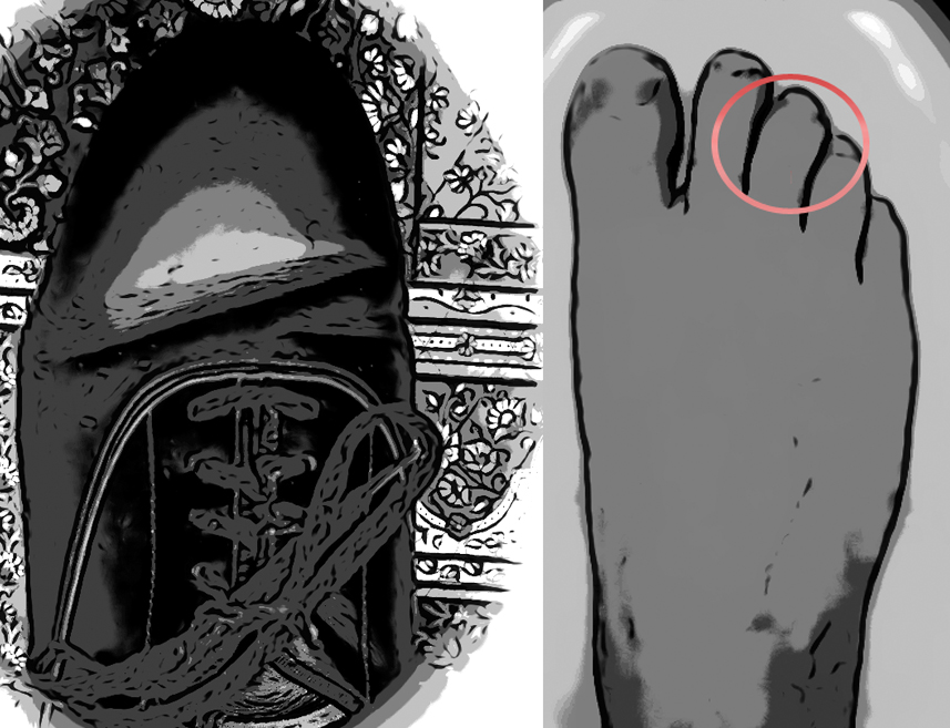 On the left, a dance shoe.  On the right, a bare foot.  It's clear the shoe is not the same shape as the foot.
