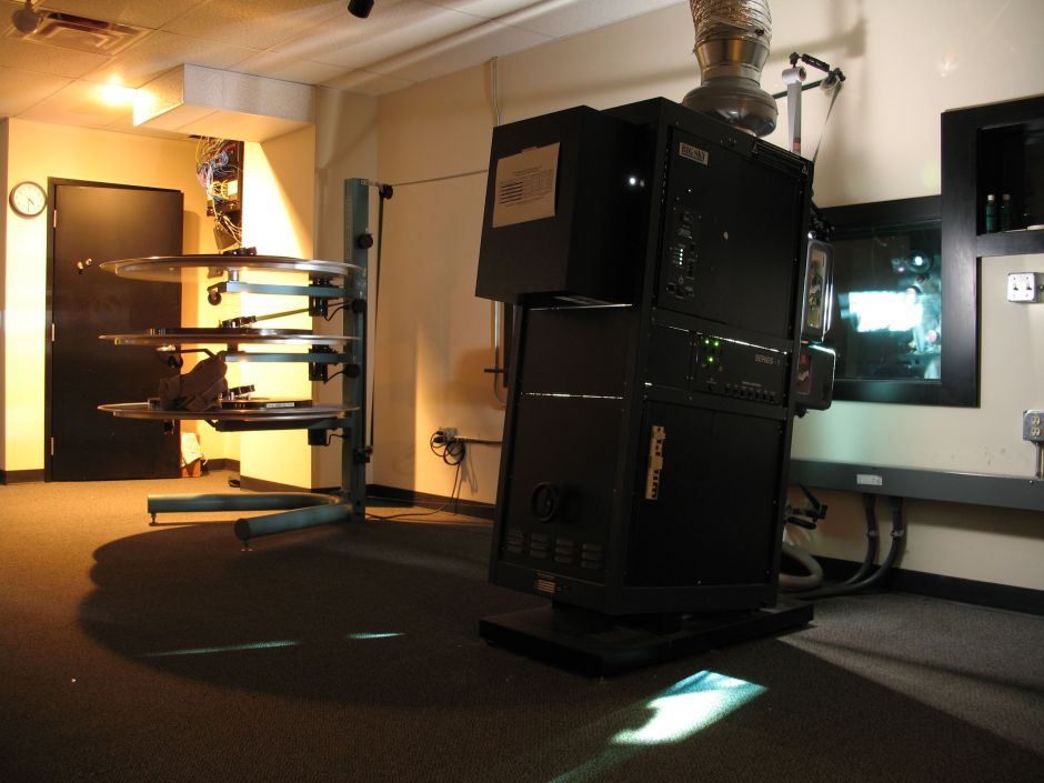 A projection booth in the multiplex era