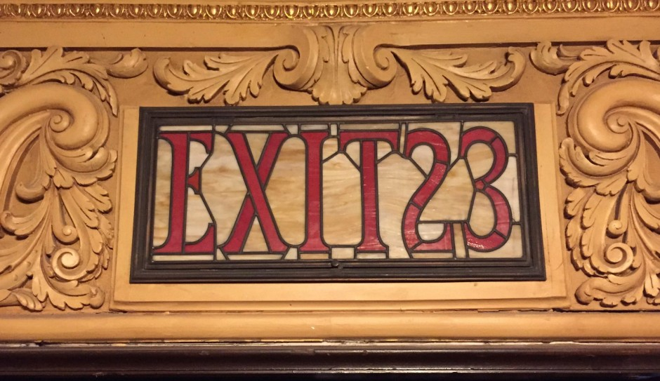 Exit sign at the Stanley Theater