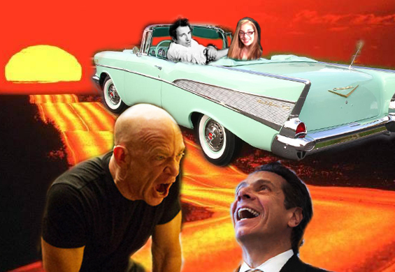 J.K. Simmons yelling at Andrew Cuomo while Sarah and Bruce Springsteen ride off into the sunset