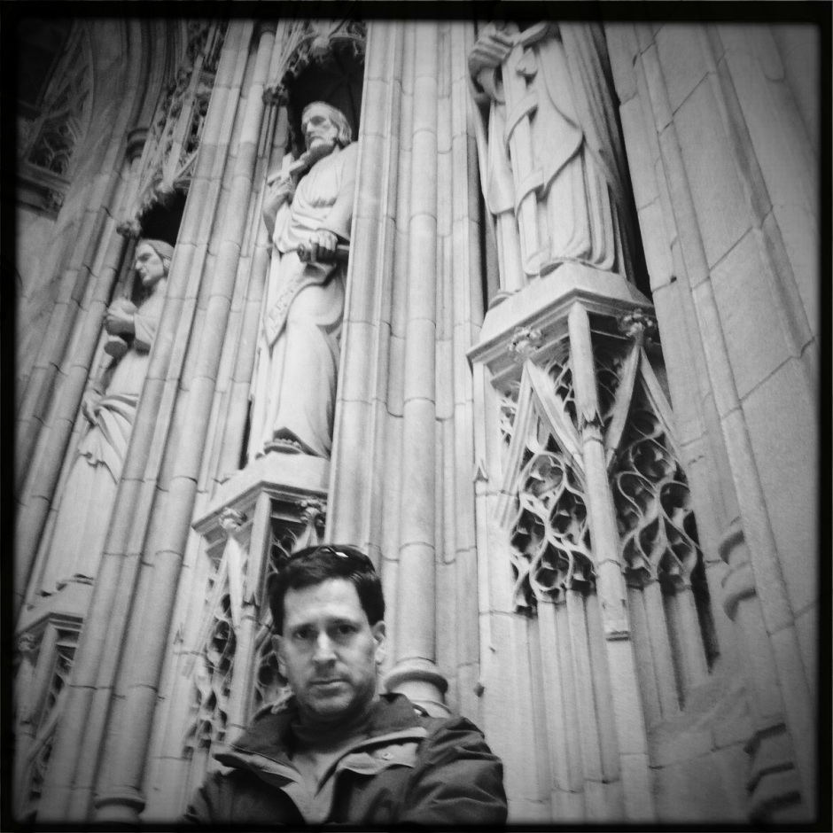 Chris in front of a NYC church