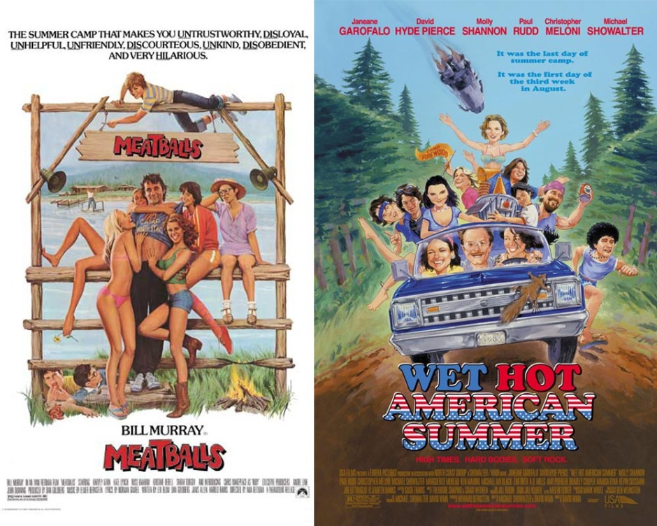 Meatballs + Wet Hot American Summer movie posters